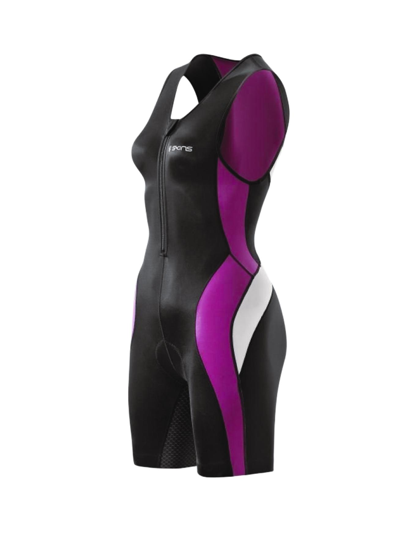 Skins Tri400 Compression Ladies Sleeveless Tri Suit with Front Zip - Black, Black