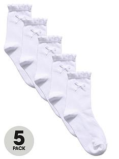 top-class-girls-frill-and-bow-ankle-socks-5-pack