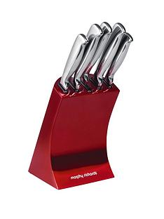morphy-richards-knife-block-5-piece-red
