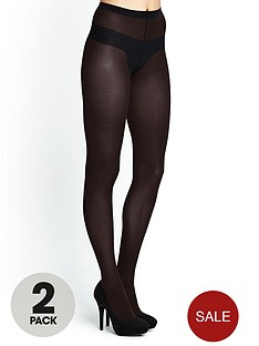 love-label-50-denier-black-opaque-tights-2-pack