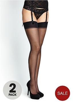 love-label-black-plain-top-stockings-5-pack