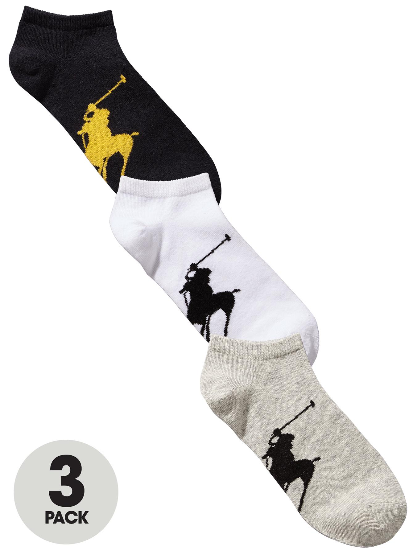 Polo Ralph Lauren Mens Trainer Socks (3 Pack) - Black, Black