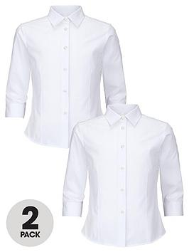 top-class-girls-easy-care-three-quarter-sleeve-shirts-2-pack