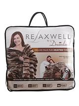 Relaxwell Faux Fur Heated Throw - Chocolate/Natural