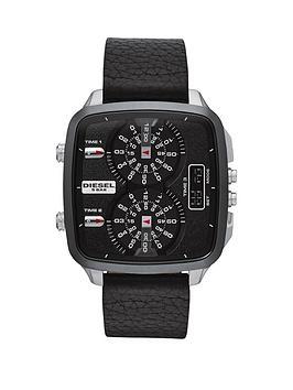Diesel Hal Black Leather Strap Mens Watch