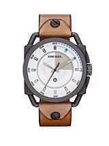 Gunmetal IP Stainless Steel Leather Strap Mens Watch