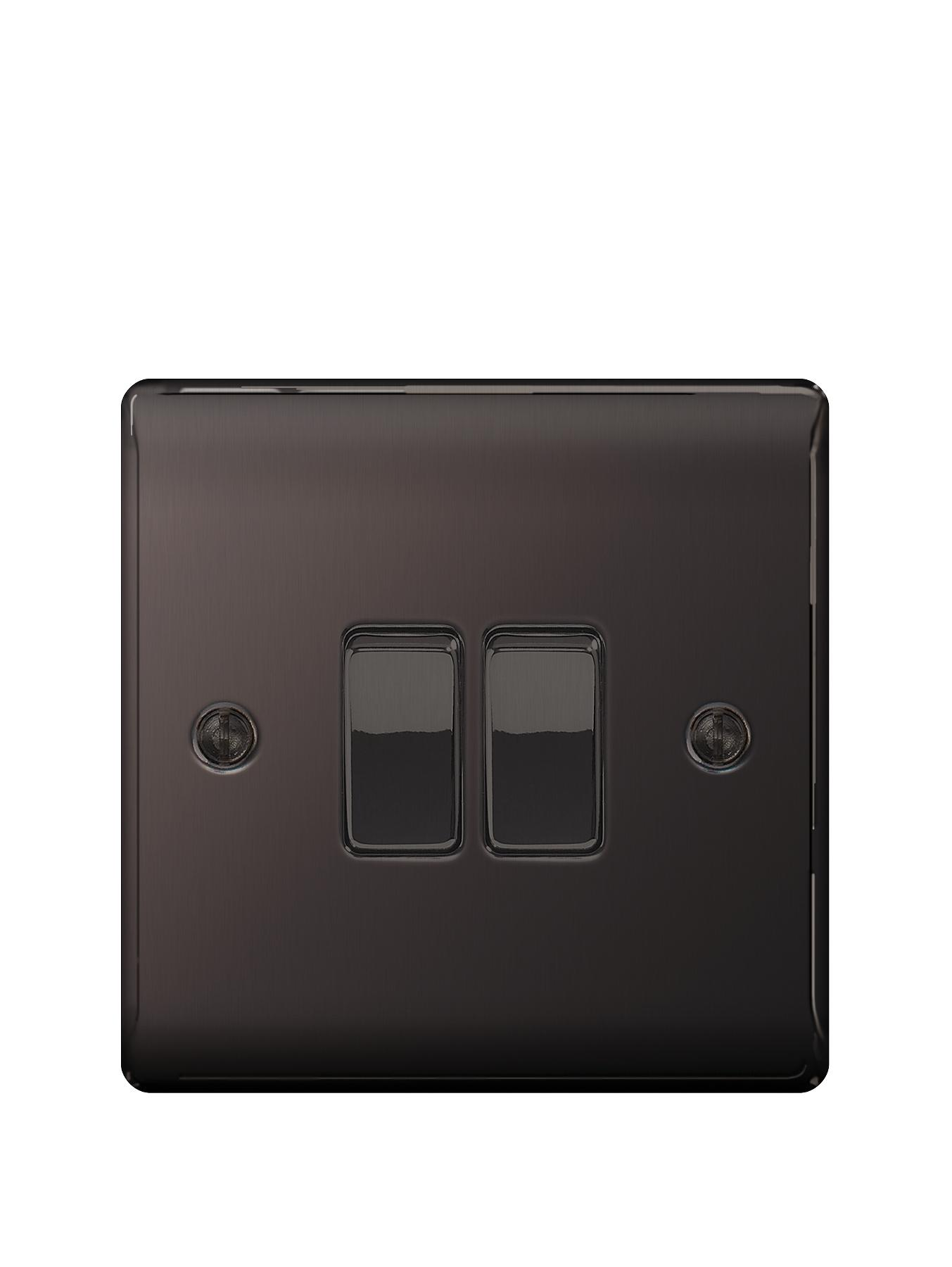 British General Electrical Raised 2g 2-Way Switch - Black Nickel