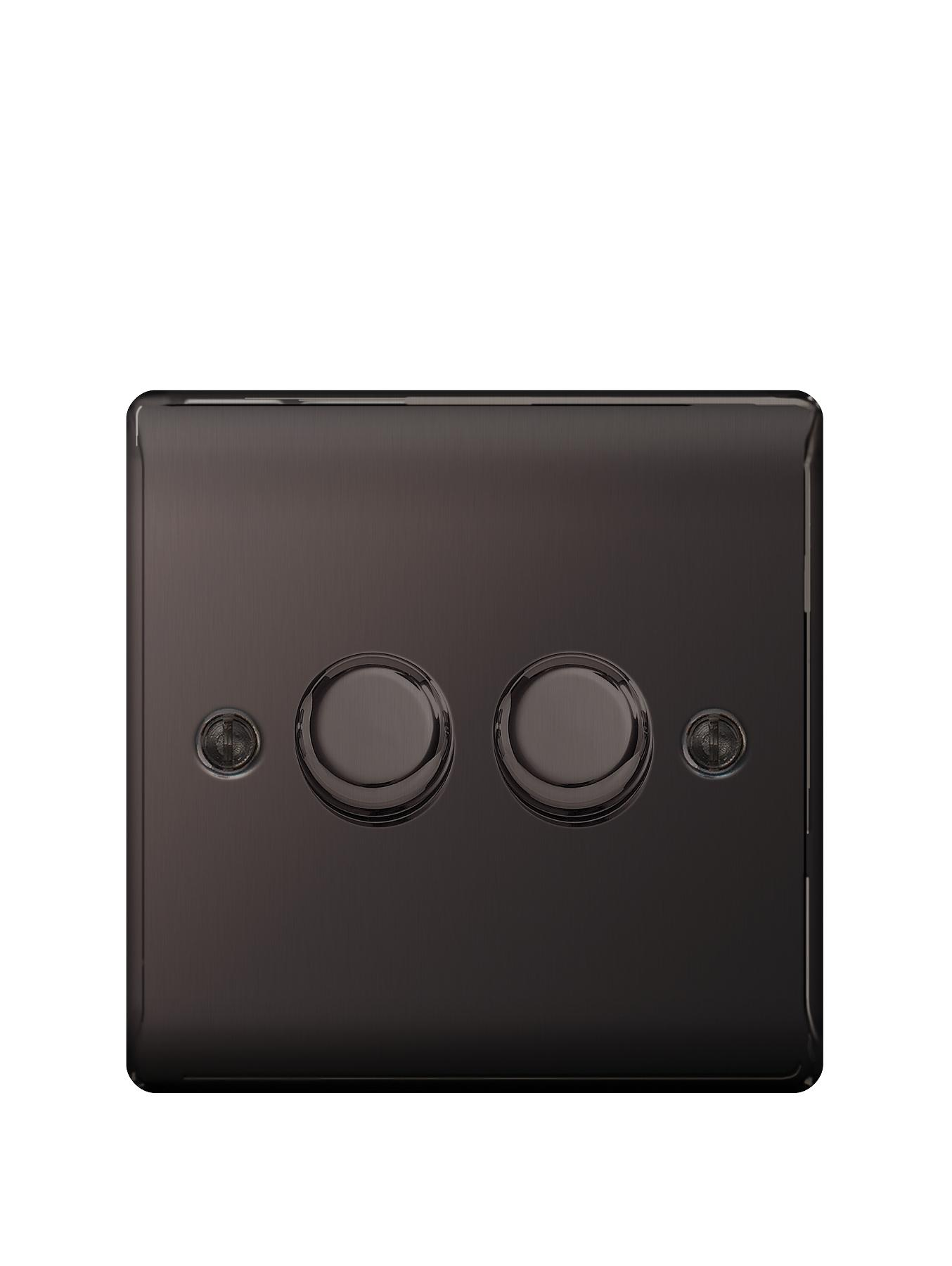 British General Electrical Raised 2g Dimmer Switch - Black Nickel