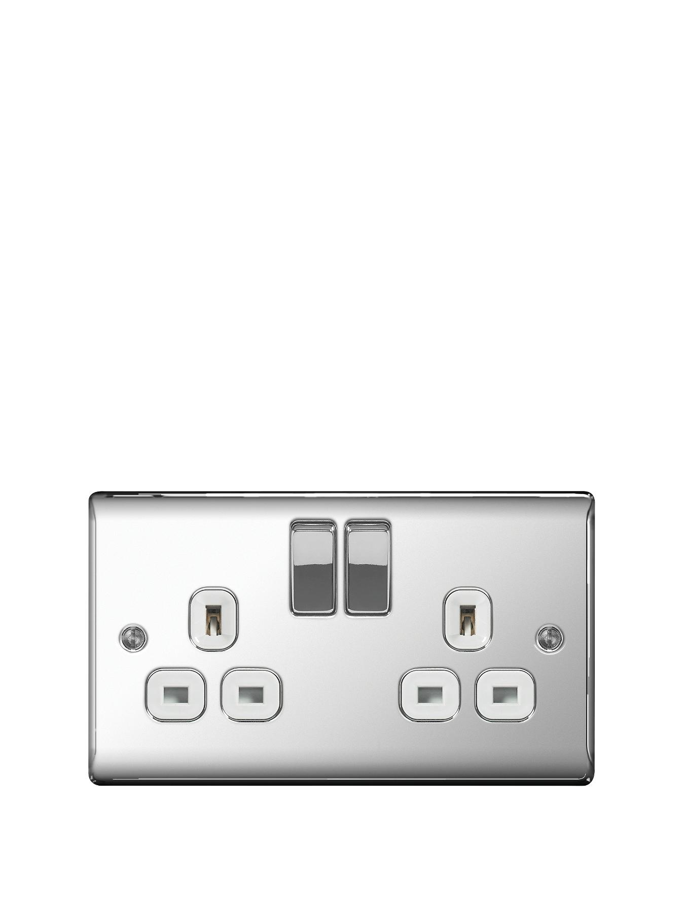 British General Electrical Raised 2g Switched Socket (13 Amp) - Polished Chrome