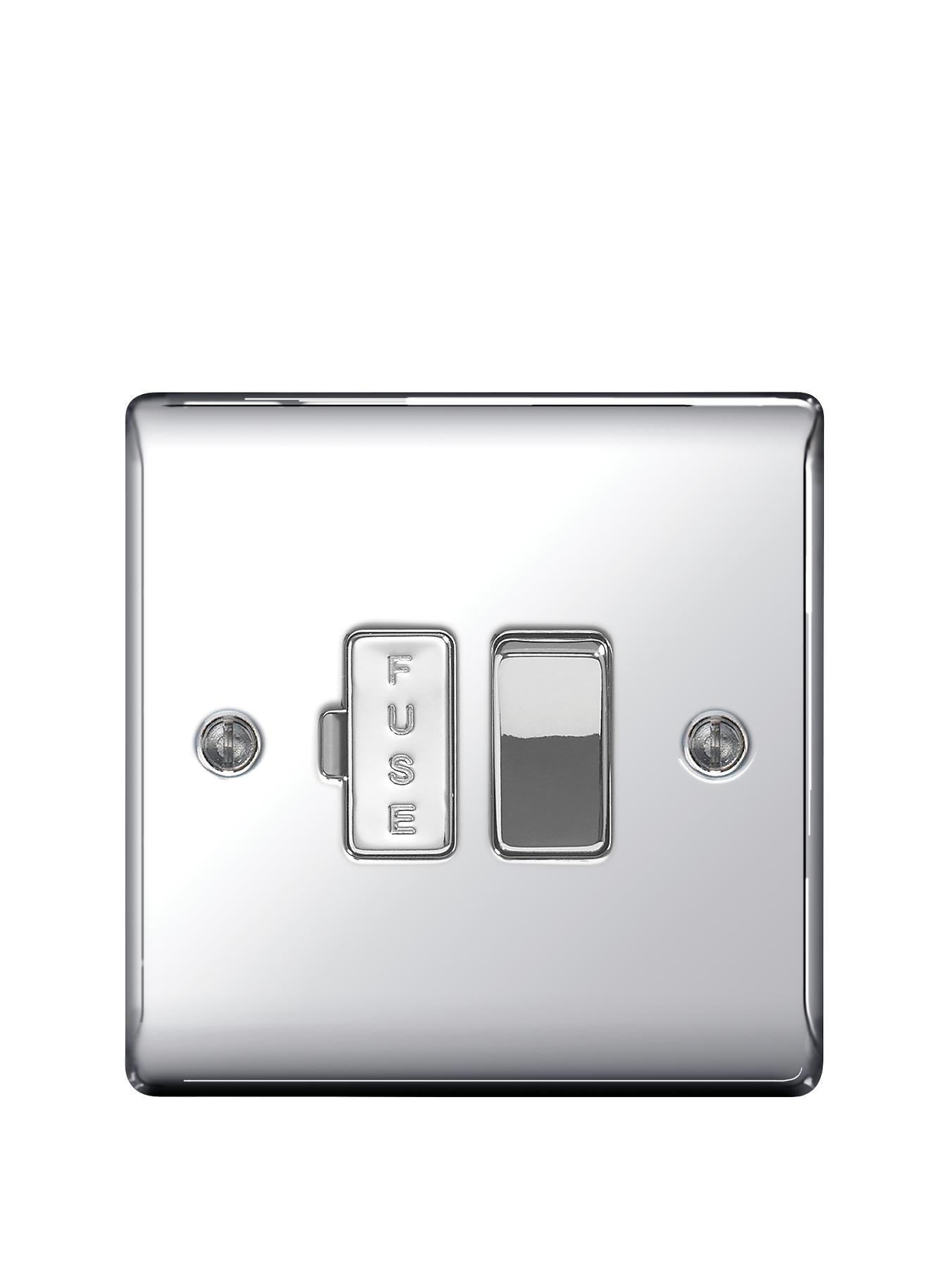 British General Electrical Raised Switched Fused Connection Unit - Polished Chrome