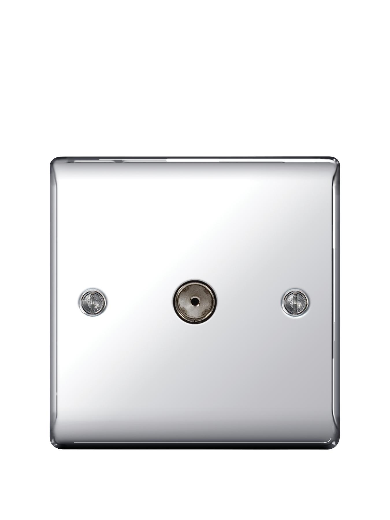 British General Electrical Raised Coax TV Aerial Socket - Polished Chrome