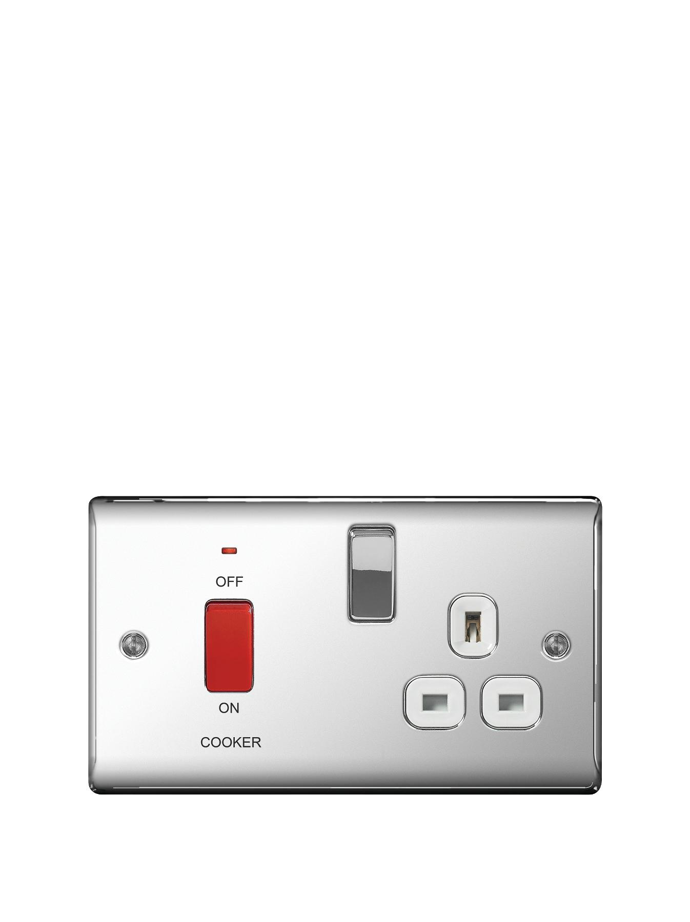 British General Electrical Raised Cooker Socket - Polished Chrome