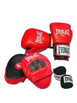 everlast-leather-boxing-set-14oz-leather-gloves-leather-curved-hook-jab-pads-and-hand-wraps