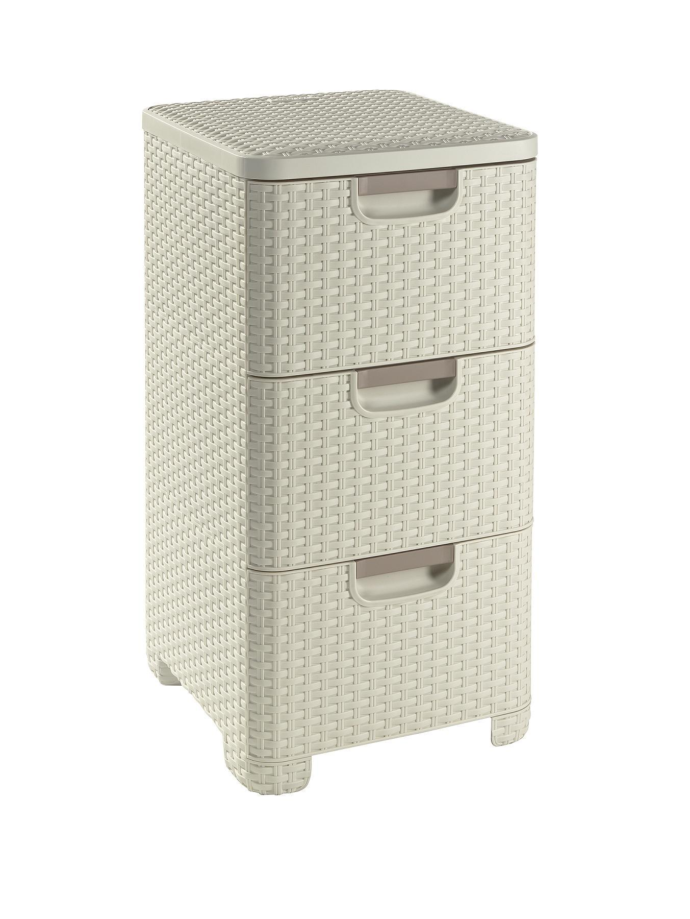 curver Style 3 Drawer Unit - White, White,Brown