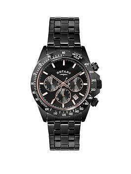 rotary-chronograph-black-stainless-steel-mens-watch