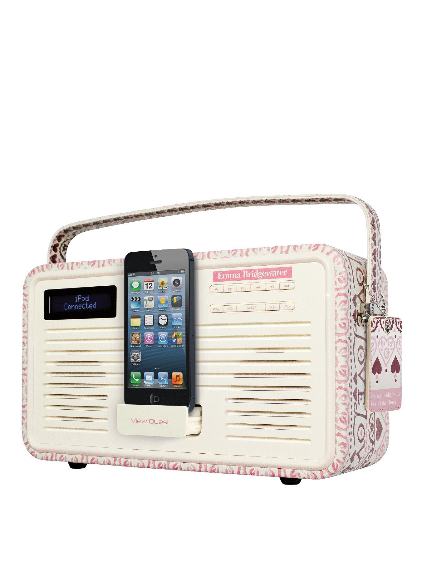 View Quest Emma Bridgewater Retro DAB Radio with 8-Pin Lightning Dock- Pink