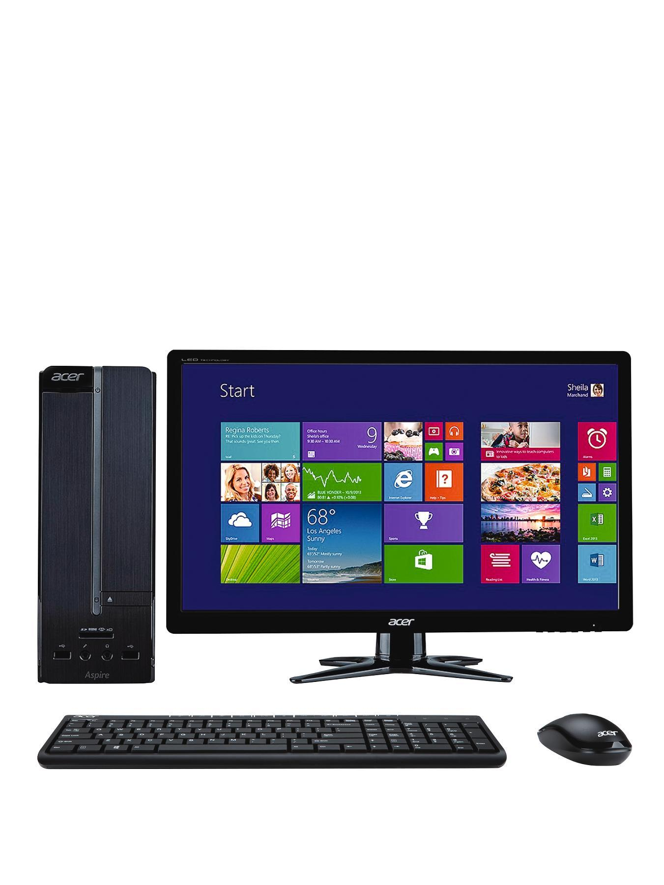 Acer Aspire XC-605 Intel Core i3 Processor, 6Gb RAM, 1Tb Hard Drive, Wi-Fi with 19.5 or 24 inch Monitor, Desktop PC Bundle - Black