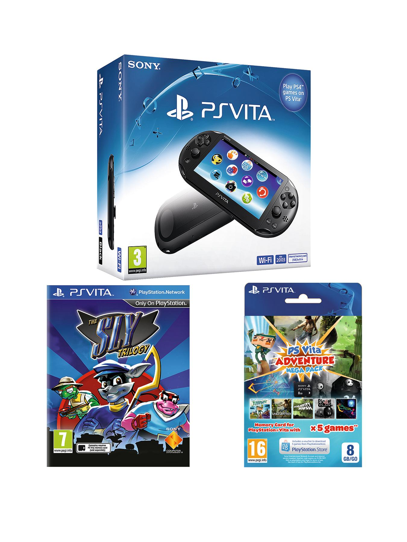 PS Vita Slim Console With Sly Cooper Trilogy and 8Gb Mega Pack