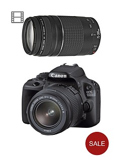 canon-eos-100d-black-slr-camera-dc-kit-ef-s-18-55mm-and-75-300mm-lens-with-18-megapixel-digital-camera-with-free-canon-starter-bundle