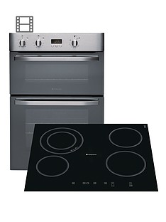 hotpoint-newstyle-dhs53xs-built-in-double-electric-oven-and-cra641dc-ceramic-hob-stainless-steelblack