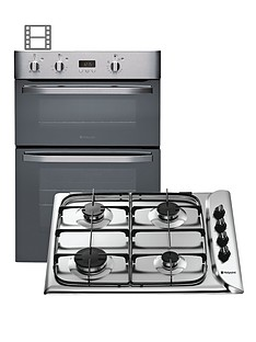 hotpoint-dhs53xs-integrated-double-electric-fan-oven-and-g640sx-gas-hob-pack