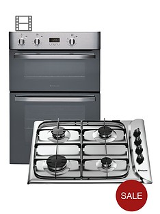 hotpoint-dhs53xs-integrated-double-fan-oven-and-g640sx-gas-hob-pack