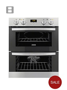 zanussi-zoe35511xk-60cm-built-under-multifunction-double-electric-fan-oven-stainless-steel