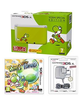 nintendo-3ds-xl-console-yoshi-edition-with-yoshi-new-island-and-adaptor
