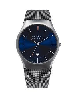skagen-matthies-titanium-blue-dial-mens-watch