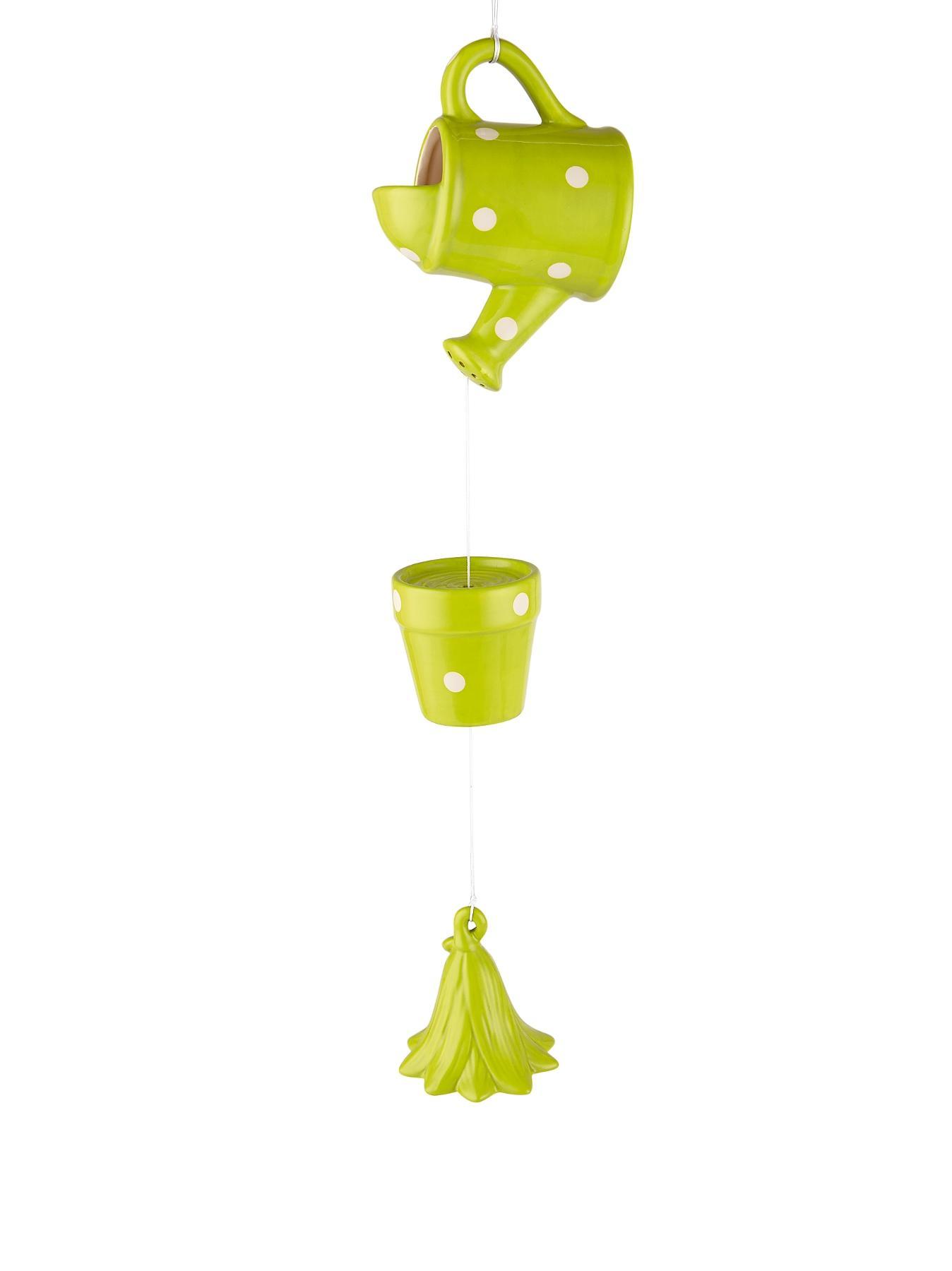 Watering Can Spots Windchime - Green/White