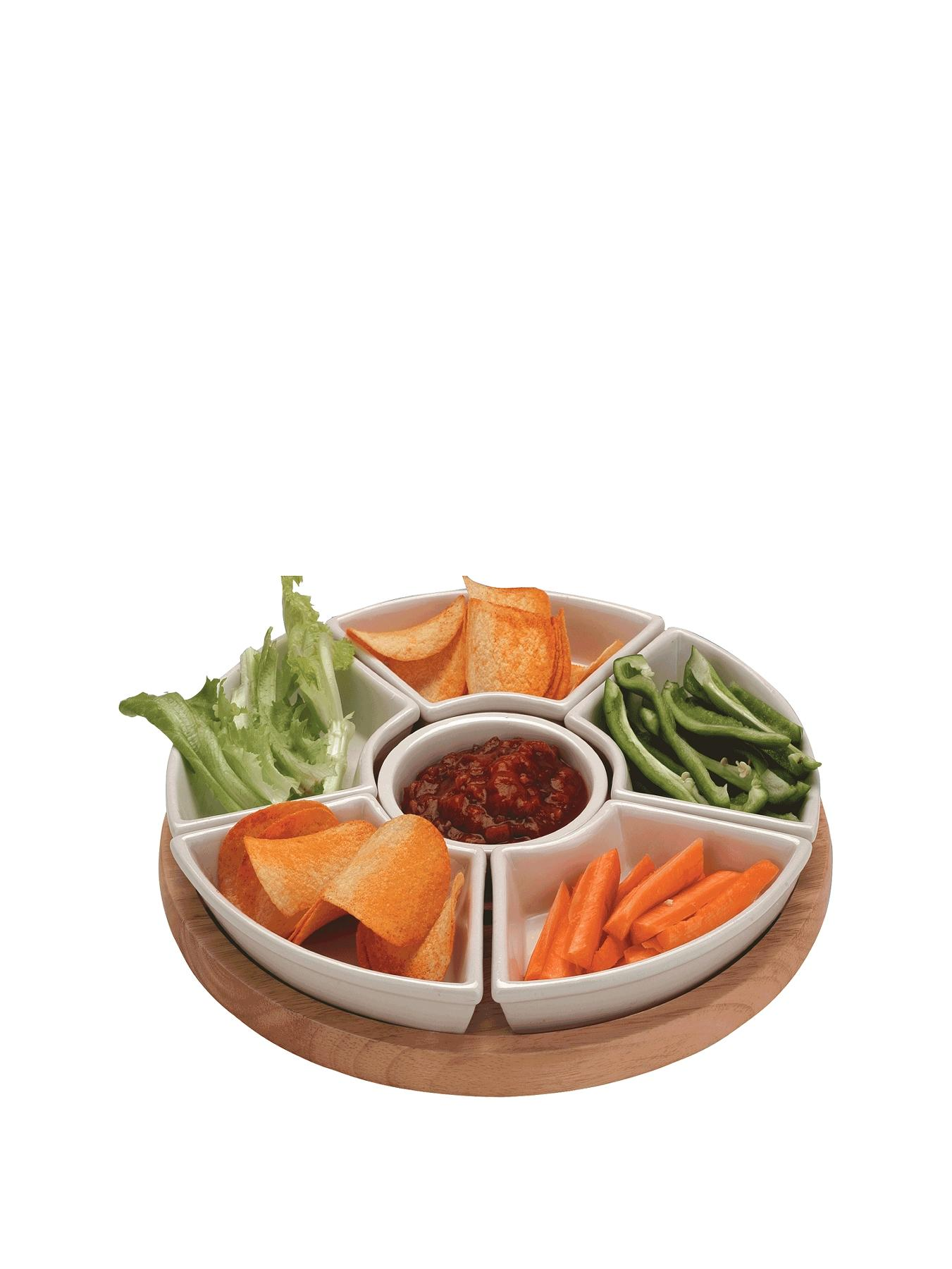 Apollo Rubber Wood Lazy Susan with Ceramic Dishes