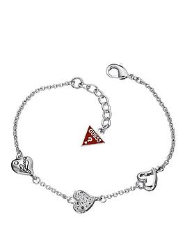 Guess Triple Heart Crystal Detail and Rhodium Plate Bracelet