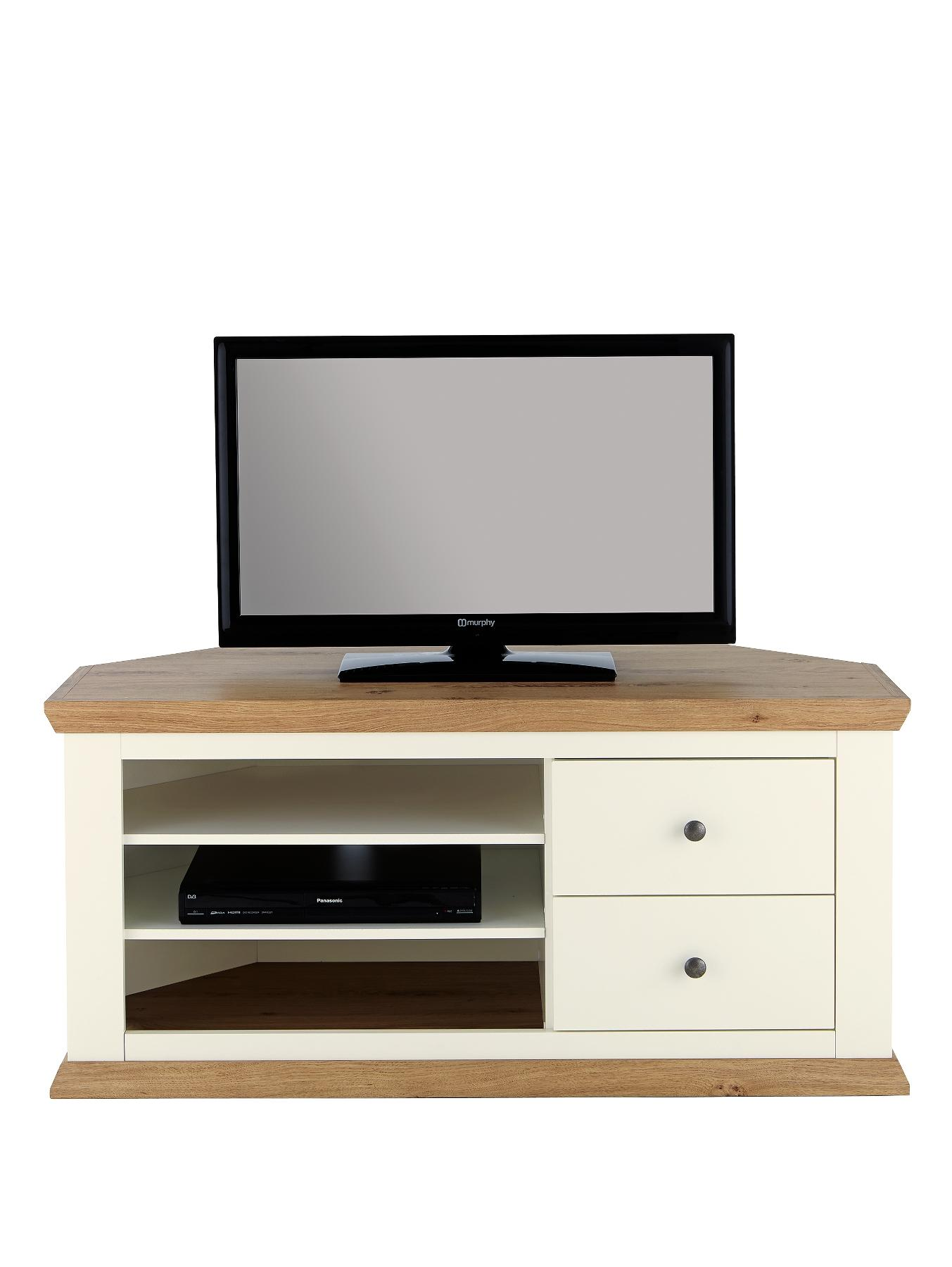 Easton Corner TV Unit - fits up to 50 inch TV - White, White,Cream