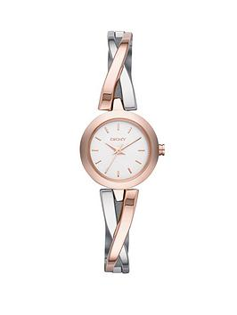 dkny-crosswalk-stainless-steel-and-rose-gold-tone-ladies-watch