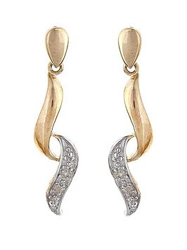 love-gold-9-carat-yellow-gold-two-tone-twisted-pave-diamond-set-dropper-earrings
