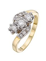 9 Carat Yellow Gold 25 Point Illusion Set Diamond Trilogy Ring with Diamond-Set Twist Shoulders