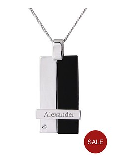 keepsafe-personalised-mens-sterling-silver-and-black-onyx-cubic-zirconia-set-pendant