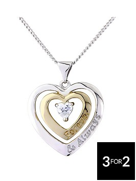 keepsafe-sterling-silver-and-gold-plated-cubic-zirconia-forever-and-always-heart-pendant