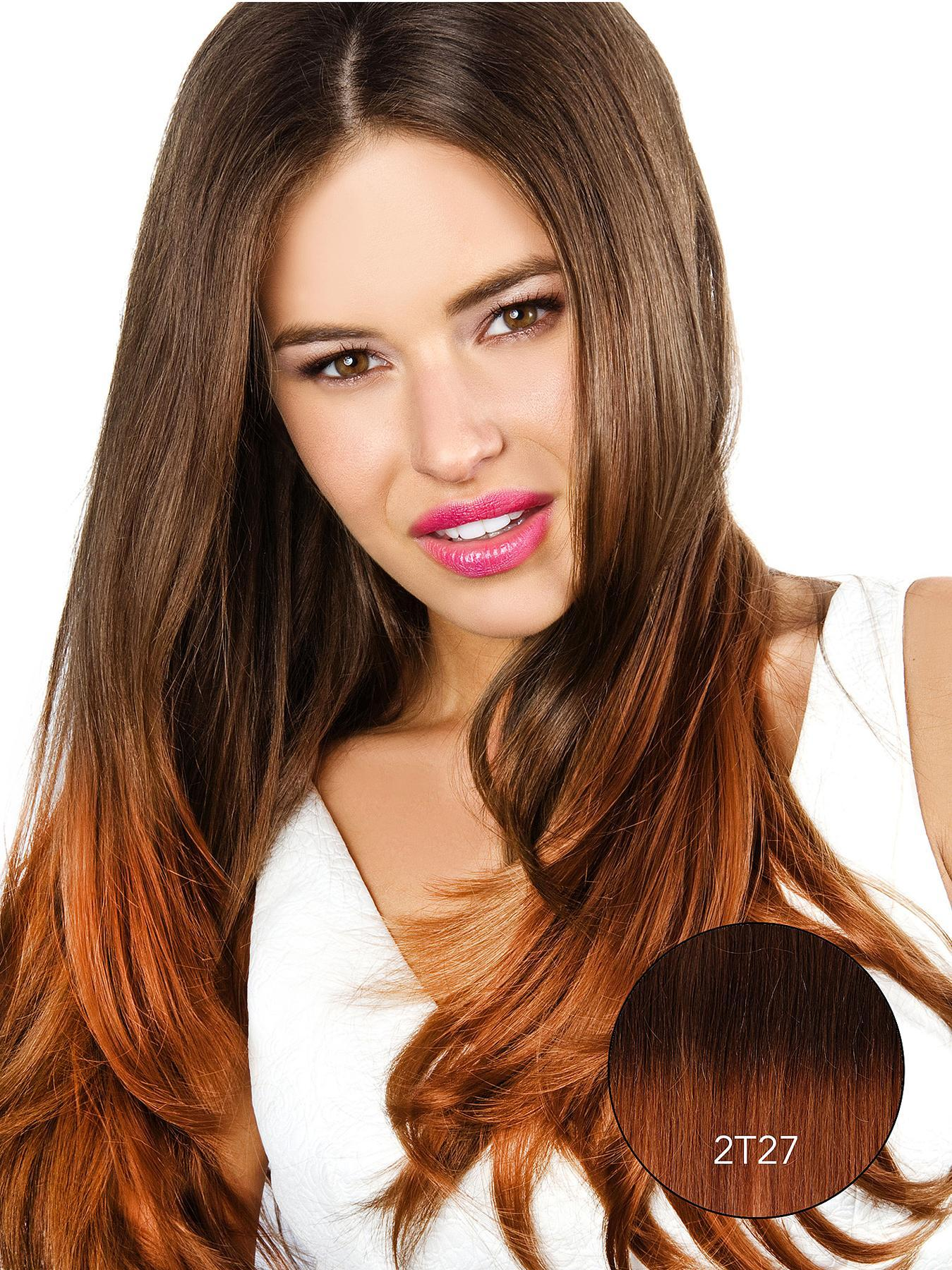 Beauty Works Double Volume Ombre Straight Synthetic Hair Piece, Brown