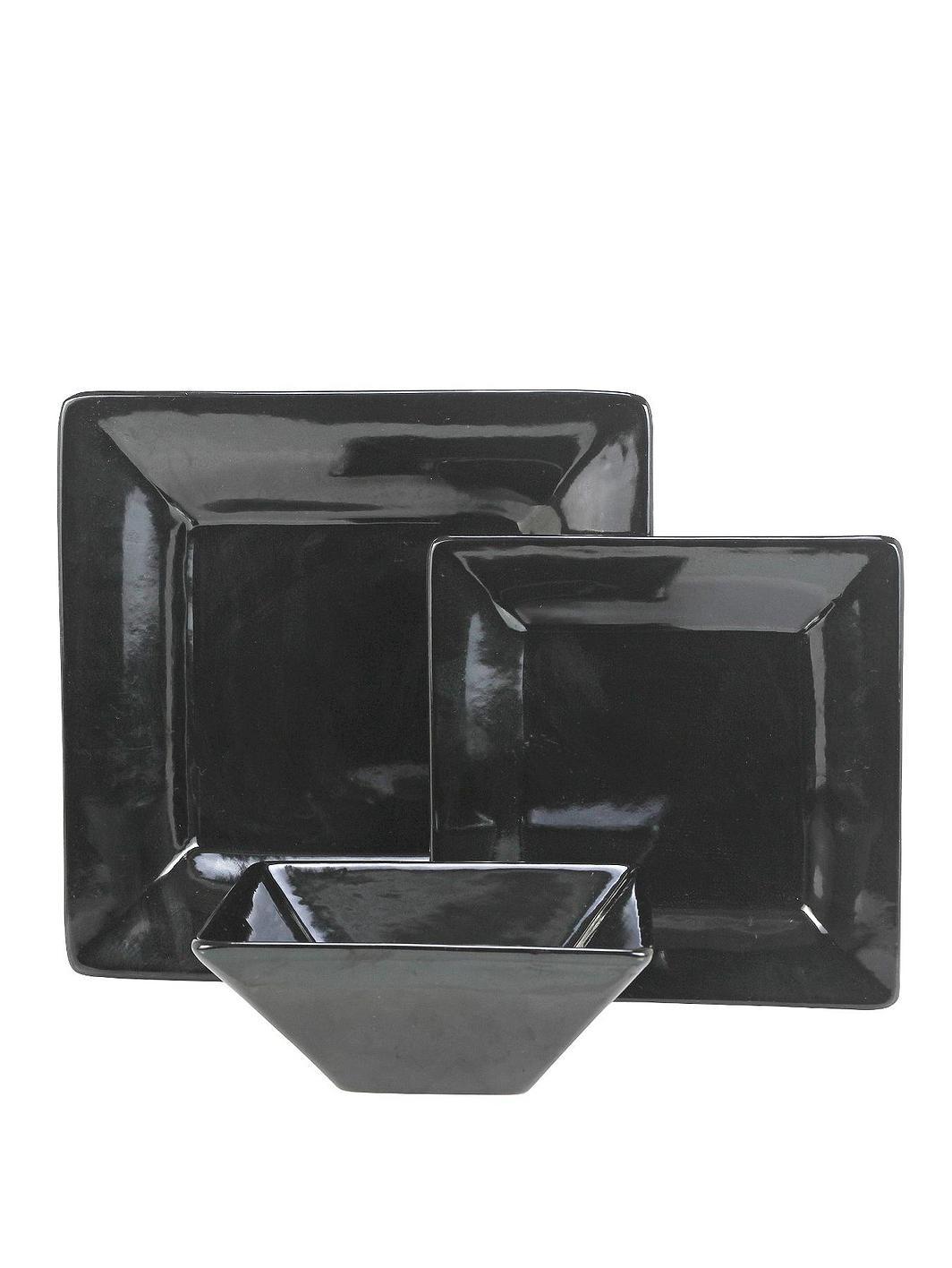 black square stoneware 12 piece dinner set