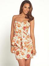 Floral Jacquard Peplum Mini Dress