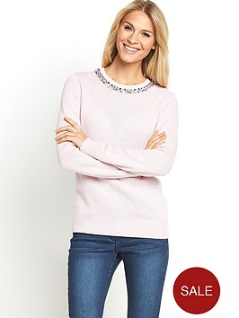 south-embellished-neck-jumper