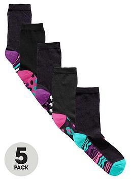 intimates-essentials-animal-footbed-socks-5-pack