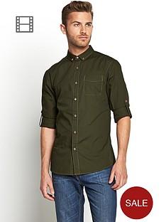 goodsouls-mens-long-sleeve-roll-tab-sleeve-cotton-poplin-shirt-green