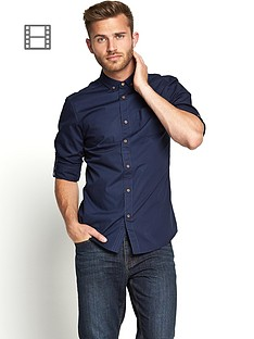 goodsouls-mens-long-sleeve-roll-tab-sleeve-cotton-poplin-shirt-navy