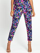 Floral Print Crepe Trousers