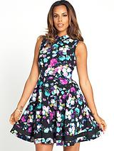 Mesh Panel Floral Print Prom Dress