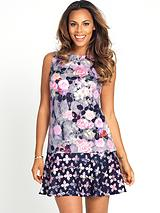 Drop Hem Printed Scuba Dress