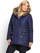 Faux Fur Hooded Quilted Parka Coat