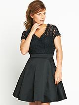 V-neck Lace Front Dress